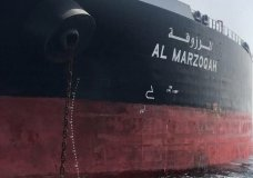 "This photo provided by the United Arab Emirates' National Media Council shows the Saudi-flagged oil tanker Al Marzoqah off the coast of Fujairah, United Arab Emirates, Monday, May 13, 2019. Two Saudi oil tankers and a Norwegian-flagged vessel were damaged in what Gulf officials described Monday as a ""sabotage"" attack off the coast of the United Arab Emirates. While details of the incident remain unclear, it raised risks for shippers in a region vital to global energy supplies at a time of increasing tensions between the U.S. and Iran over its unraveling nuclear deal with world powers. (United Arab Emirates National Media Council via AP)"