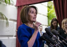 Speaker of the House Nancy Pelosi, D-Calif., responds to reporters as she departs after meeting with all the House Democrats, many calling for impeachment proceedings against President Donald Trump after his latest defiance of Congress by blocking his former White House lawyer from testifying yesterday, at the Capitol in Washington, Wednesday, May 22, 2019. (AP Photo/J. Scott Applewhite)