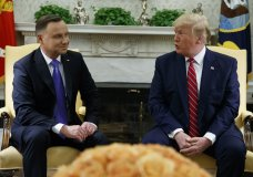 President Donald Trump meets with Polish President Andrzej Duda in the Oval Office of the White House, Wednesday, June 12, 2019, in Washington. (AP Photo/Evan Vucci)