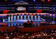 Democratic presidential candidates from left, New York City Mayor Bill de Blasio, Rep. Tim Ryan, D-Ohio, former Housing and Urban Development Secretary Julian Castro, Sen. Cory Booker, D-N.J., Sen. Elizabeth Warren, D-Mass., former Texas Rep. Beto O'Rourke, Sen. Amy Klobuchar, D-Minn., Rep. Tulsi Gabbard, D-Hawaii, Washington Gov. Jay Inslee, and former Maryland Rep. John Delaney listen to a question during the Democratic primary debate hosted by NBC News at the Adrienne Arsht Center for the Performing Arts, Wednesday, June 26, 2019, in Miami. (AP Photo/Wilfredo Lee)