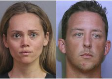 This combination of booking photos provided by the Polk County Sheriff's Office shows Courtney Irby on June 15, 2019, and her husband Joseph Irby on June 14. A Florida lawmaker and others are asking a State Attorney not to prosecute Courtney Irby who was arrested while giving her husband's guns to police after he was charged with trying to run her over. Courtney Irby spent six days in jail on charges of armed burglary and grand theft after she brought the guns from her husband's apartment to the Lakeland Police. Joseph Irby was spending one day in jail at the time, accused of trying to run her over. (Polk County Sheriff's Office via AP)