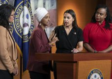 """From left, Rep. Rashida Tlaib, D-Mich., Rep. Ilhan Omar, D-Minn., Rep. Alexandria Ocasio-Cortez, D-N.Y., and Rep. Ayanna Pressley, D-Mass., respond to remarks by President Donald Trump after his call for the four Democratic congresswomen to go back to their """"broken"""" countries, during a news conference at the Capitol in Washington, Monday, July 15, 2019. All are American citizens and three of the four were born in the U.S. (AP Photo/J. Scott Applewhite)"""