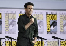 """Tom Cruise presents a clip from """"Top Gun: Maverick"""" on day one of Comic-Con International on Thursday, July 18, 2019, in San Diego. (Photo by Chris Pizzello/Invision/AP)"""