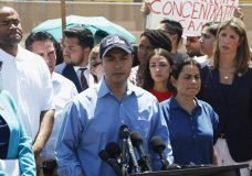 Rep. Joaquin Castro speaks alongside members of the Hispanic Caucus after touring inside of the Border Patrol station in Clint, Texas, Monday, July 1, 2019. Castro's identical twin, presidential candidate Julian Castro, held a rally outside the building over the weekend. (AP Photo/Cedar Attanasio)