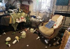 """The interior of """"My Enchanted Cottage"""" is seen after an earthquake, Thursday, July 4, 2019, in Ridgecrest, Calif. The earthquake shook a large swath of Southern California and parts of Nevada on Thursday, rattling nerves on the July 4th holiday and causing injuries and damage in the town near the epicenter, followed by a swarm of ongoing aftershocks. (Jessica Weston/The Daily Independent via AP)"""