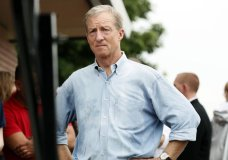 FILE - In this Aug. 11, 2019, file photo, Democratic presidential candidate and businessman Tom Steyer waits to speak at the Des Moines Register Soapbox during a visit to the Iowa State Fair in Des Moines, Iowa. Tax records released by Steyer show he made well over a billion dollars over the last decade. (AP Photo/Charlie Neibergall, File)