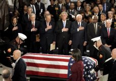 The flag-draped casket of the late Rep. Elijah Cummings, D-Md., arrives for a ceremony in Statuary Hall at the U.S. Capitol in Washington, Thursday, Oct. 24, 2019, as from left, House Speaker Nancy Pelosi of Calif., Senate Majority Leader Mitch McConnell of Kentucky, Senate Minority Leader Chuck Schumer of N.Y., House Minority Leader Kevin McCarthy of Calif, House Majority Leader Steny Hoyer of Md., House Majority Whip James Clyburn and Sen. Ben Cardin, D-Md., look on. (Greg Nash/Pool via AP)