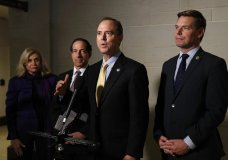 Rep. Adam Schiff, D-Calif., center, speaks with members of the media after former deputy national security adviser Charles Kupperman signaled that he would not appear as scheduled for a closed door meeting to testify as part of the House impeachment inquiry into President Donald Trump, Monday, Oct. 28, 2019, on Capitol Hill in Washington. Standing with Schiff are Carolyn Maloney, D-N.Y., from left, Rep. Jamie Raskin, D-Md., and Rep. Eric Swalwell, D-Calif. (AP Photo/Patrick Semansky)