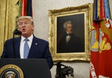 President Donald Trump speaks during a ceremony to present the Presidential Medal of Freedom to former Attorney General Edwin Meese, in the Oval Office of the White House, Tuesday, Oct. 8, 2019, in Washington. (AP Photo/Alex Brandon)