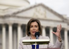 Speaker of the House Nancy Pelosi, D-Calif., speaks during the planting of a commemorative tree in honor of the former President Theodore Roosevelt on the grounds of the U.S. Capitol in Washington, on Wednesday, Oct. 30, 2019. (AP Photo/Jose Luis Magana)