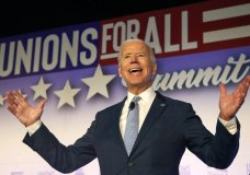 Former Vice President and Democratic presidential candidate Joe Biden speaks at the SEIU Unions For All Summit on Friday, Oct. 4, 2019, in Los Angeles. (AP Photo/Ringo H.W. Chiu)