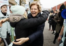 Democratic presidential candidate Sen. Elizabeth Warren greets supporters before the Iowa Democratic Party's Liberty and Justice Celebration, Friday, Nov. 1, 2019, in Des Moines, Iowa. (AP Photo/Charlie Neibergall)