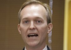 """Utah Rep. Ben McAdams speaks during a news conference announcing he will vote to impeach President Donald Trump Monday, Dec. 16, 2019, in Murray, Utah. McAdams said Trump abused the power of his office by pressuring Ukraine to investigate former Vice President Joe Biden and his son, and he """"cannot turn a blind eye"""" to his actions. """"What the president did was wrong,"""" he said, reading from a statement. McAdams did not take questions. (AP Photo/Rick Bowmer)"""