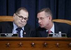 House Judiciary Committee Chairman Jerrold Nadler, D-N.Y., left, with Rep. Doug Collins, R-Ga., right, the ranking member, listening to opening statements during a markup of the articles of impeachment against President Donald Trump, on Capitol Hill in Washington, Wednesday, Dec. 11, 2019. (Shawn Thew/Pool via AP)