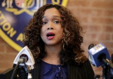 Maryland State Attorney Marilyn Mosby speaks during a news conference announcing the indictment of correctional officers, Tuesday, Dec. 3, 2019, in Baltimore. Twenty five correction officers, most of whom were taken into custody earlier in the day, are charged with using excessive force on detainees at state-operated Baltimore pretrial correctional facilities. (AP Photo/Julio Cortez)