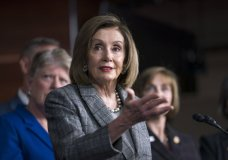 Speaker of the House Nancy Pelosi, D-Calif., discusses her recent visit to the UN Climate Change Conference in Madrid, Spain, during a news conference with the congressional delegation to that summit, at the Capitol in Washington, Friday, Dec. 6, 2019. (AP Photo/J. Scott Applewhite)