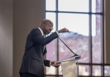 The Rev. Raphael G. Warnock speaks during the Martin Luther King, Jr. annual commemorative service at Ebenezer Baptist Church in Atlanta on Monday, Jan. 20, 2020. (Branden Camp/Atlanta Journal-Constitution via AP)