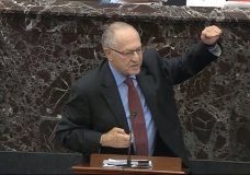 In this image from video, Alan Dershowitz, an attorney for President Donald Trump, answers a question during the impeachment trial against Trump in the Senate at the U.S. Capitol in Washington, Wednesday, Jan. 29, 2020. (Senate Television via AP)
