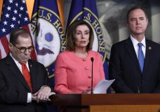 House Speaker Nancy Pelosi of Calif., center, flanked by House Judiciary Committee Chairman Rep. Jerrold Nadler, D-N.Y., left, and House Intelligence Committee Chairman Rep. Adam Schiff, D-Calif., speaks during a news conference to announce impeachment managers on Capitol Hill in Washington, Wednesday, Jan. 15, 2020. The U.S. House is set to vote Wednesday to send the articles of impeachment against President Donald Trump to the Senate for a landmark trial on whether the charges of abuse of power and obstruction of Congress are grounds for removal. (AP Photo/Susan Walsh)