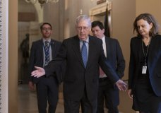 Senate Majority Leader Mitch McConnell, R-Ky., arrives for a closed meeting with fellow Republicans as he strategizes about the looming impeachment trial of President Donald Trump, at the Capitol in Washington, Tuesday, Jan. 7, 2020. (AP Photo/J. Scott Applewhite)
