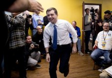 Democratic presidential candidate former South Bend, Ind., Mayor Pete Buttigieg arrives to speak at a campaign office the day of the Iowa Caucus, Monday, Feb. 3, 2020, in West Des Moines, Iowa. (AP Photo/Andrew Harnik)