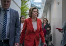 Speaker of the House Nancy Pelosi, D-Calif., leaves a meeting with fellow Democrats at the Capitol in Washington, Wednesday, Feb. 5, 2020. (AP Photo/J. Scott Applewhite)