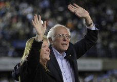 Democratic presidential candidate Sen. Bernie Sanders I-Vt., waves with his wife Jane after his speech at a campaign event in Tacoma, Wash., Monday, Feb. 17, 2020. (AP Photo/Ted S. Warren)