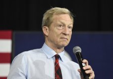 Democratic presidential candidate Tom Steyer speaks at a campaign event on climate change in Spartanburg, S.C., on Monday, Feb. 17, 2020. (AP Photo/Meg Kinnard)