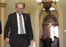 Senate Minority Leader Sen. Chuck Schumer of N.Y., arrives for a news conference on Capitol Hill in Washington, Tuesday, Feb. 25, 2020. (AP Photo/Susan Walsh)