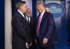 President Donald Trump with members of the president's coronavirus task force glances at reporters as he leaves a news conference at the Brady press briefing room of the White House, Wednesday, Feb. 26, 2020, in Washington. (AP Photo/Manuel Balce Ceneta)
