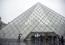 Tourists stand outside the Louvre museum, in Paris, France, Sunday, March 1, 2020. The spreading coronavirus epidemic shut down France's Louvre Museum on Sunday, with workers who guard its trove of artworks fearful of being contaminated by the museum's flow of visitors from around the world. (AP Photo/Rafael Yaghobzadeh)