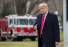 President Donald Trump gestures as he leaves the White House, Thursday, March 5, 2020 in Washington, before boarding Marine One for a short trip to Andrews Air Force Base, Md., and then on to Scranton, Pa. (AP Photo/Manuel Balce Ceneta)