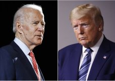 FILE - In this combination of file photos, former Vice President Joe Biden speaks in Wilmington, Del., on March 12, 2020, left, and President Donald Trump speaks at the White House in Washington on April 5, 2020. Early polling in the general election face-off between Trump and Biden bears out a gap between the two contenders when it comes to who Americans see as more compassionate to their concerns. (AP Photo, File)