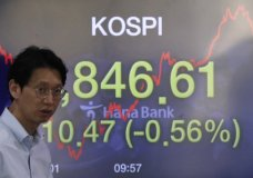 A currency trader walks by a screen showing the Korea Composite Stock Price Index (KOSPI) at the foreign exchange dealing room in Seoul, South Korea, Thursday, April 16, 2020. Asian stocks were mostly lower Thursday after unexpectedly weak U.S. retail and other data added to gloom about the impact of the coronavirus pandemic. (AP Photo/Lee Jin-man)