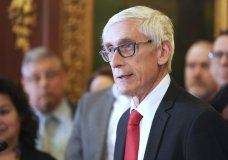 FILE - In this Feb. 6, 2020 file photo, Wisconsin Gov. Tony Evers holds a news conference in Madison, Wis. Wisconsin Democratic Gov. Tony Evers' administration is moving ahead with plans to buy 10,000 ventilators and 1 million protective masks in the fight against the coronavirus. The effort comes after Evers' administration had clashed with Republican lawmakers over whether he needed their permission to make such purchases. (Steve Apps/Wisconsin State Journal via AP, File)