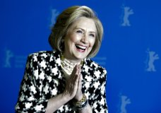 ormer US Secretary of State, Hillary Clinton, poses for the photographers during a photo-call for the film 'Hillary' ' during the 70th International Film Festival Berlin, Berlinale in Berlin, Germany, Tuesday, Feb. 25, 2020. (AP Photo/Markus Schreiber)