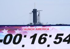 A SpaceX Falcon 9, with NASA astronauts Doug Hurley and Bob Behnken in the Dragon crew capsule, prepare to lift off from Pad 39-A at the Kennedy Space Center in Cape Canaveral, Fla., Wednesday, May 27, 2020. The veicle is venting as the mission was scrubbed. The launch of a SpaceX rocket ship with two NASA astronauts on a history-making flight into orbit was been called off with 16 minutes to go in the countdown because of the danger of lightning. (AP Photo/David J. Philip)