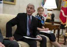 White House coronavirus response coordinator Dr. Deborah Birx listens as director of the National Institute of Allergy and Infectious Diseases Dr. Anthony Fauci speaks during a meeting between President Donald Trump and Gov. John Bel Edwards, D-La., about the coronavirus response, in the Oval Office of the White House, Wednesday, April 29, 2020, in Washington. (AP Photo/Evan Vucci)