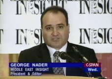 FILE - This 1998 file frame from video provided by C-SPAN shows George Nader, then-president and editor of Middle East Insight. Nader, a businessman who was a key witness in special counsel Robert Mueller's report and who helped broker the release of American hostages, is slated to receive at least a 10-year prison sentence on child sex charges. Prosecutors in federal court in Alexandria, Va. are not seeking a longer sentence than that at the sentencing hearing on Friday, June 26, 2020 but the judge could still impose one. (C-SPAN via AP, File)