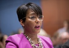 FILE - In this July 17, 2019, file photo, Atlanta Mayor Keisha Lance Bottoms speaks during a Senate Democrats' Special Committee on the Climate Crisis on Capitol Hill in Washington. Bottoms announced Monday, July 6, 2020, that she had tested positive for COVID-19. (AP Photo/Andrew Harnik, File)