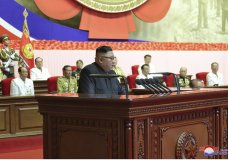 """In this photo provided by the North Korean government, North Korean leader Kim Jong Un delivers a speech before war veterans in Pyongyang, North Korea, Monday, July 27, 2020, marking the 67th anniversary of the end of the 1950-53 Korean War. Kim said his country's hard-won nuclear weapons were a solid security guarantee and a """"reliable, effective"""" deterrent that could prevent a second Korean War, state media reported Tuesday. Independent journalists were not given access to cover the event depicted in this image distributed by the North Korean government. The content of this image is as provided and cannot be independently verified. Korean language watermark on image as provided by source reads: """"KCNA"""" which is the abbreviation for Korean Central News Agency. (Korean Central News Agency/Korea News Service via AP)"""