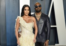 FILE -Kim Kardashian West, left, and Kanye West arrive at the Vanity Fair Oscar Party in Beverly Hills, Calif. on Feb. 9, 2020. Kardashian West is asking the public to show compassion and empathy to husband Kanye West, who she says is bipolar and caused a stir this week after fulminating in a series of social media posts. The reality TV star posted a lengthy message Wednesday on her Instagram Live feed, explaining that life has been complicated for her family and West, who ranted against historical figure Harriet Tubman and discussed abortion on Sunday while he declared himself a presidential candidate. (Photo by Evan Agostini/Invision/AP, File)