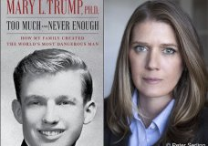 """This combination photo shows the cover art for """"Too Much and Never Enough: How My Family Created the World's Most Dangerous Man"""", left, and a portrait of author Mary L. Trump, Ph.D. The book, written by the niece of President Donald J. Trump, was originally set for release on July 28, but will now arrive on July 14. (Simon & Schuster, left, and Peter Serling/Simon & Schuster via AP)"""