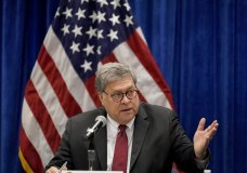 "FILE - In this Oct. 15, 2020, file photo U.S. Attorney General William Barr speaks during a roundtable discussion on Operation Legend in St. Louis. Even before Barr issued a memo that authorized federal prosecutors across the country to investigate ""substantial allegations"" of voting irregularities if they exist, the Justice Department had already begun looking into two specific allegations. (AP Photo/Jeff Roberson, File)"