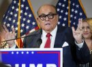 "FILE - In this Nov. 19, 2020, file photo, former New York Mayor Rudy Giuliani, a lawyer for President Donald Trump, speaks during a news conference at the Republican National Committee headquarters, in Washington. Giuliani urged Michigan Republican activists on Wednesday, Nov. 2, 2020, to pressure the GOP-controlled Legislature to ""step up"" and award the state's 16 electoral votes to Trump despite Democrat Joe Biden's 154,000-vote victory. (AP Photo/Jacquelyn Martin, File)"