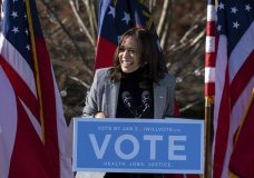 Vice President-Elect Kamala Harris campaigns for Democratic U.S. Senate challengers the Rev. Raphael Warnock and Jon Ossoff, Monday, Dec. 21, 2020, in Columbus, Ga. (AP Photo/Ben Gray)