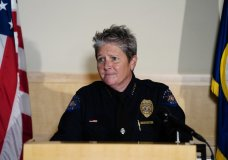 FILE - In this July 3, 2020, file photo, then-Aurora Police Department Interim Chief Vanessa Wilson speaks during a press conference in Aurora, Colo. Wilson, five of her police officers as well as the city of Aurora was sued Monday, Jan. 25, 2021, by the families of four Black girls who were mistakenly detained by the officers in the Denver suburb last year. After a video of the girls' detention spread online, Wilson apologized for how the officers treated them and said she was as angry as everyone else about it. (Philip B. Poston/The Aurora Sentinel via AP, File)