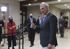 House Minority Leader Kevin McCarthy, R-Calif., criticizes the the Democrats' $1.9 trillion COVID-19 relief bill during comments to reporters as Congress preps for its first votes on the measure, on Capitol Hill in Washington, Wednesday, Feb. 24, 2021. (AP Photo/J. Scott Applewhite)