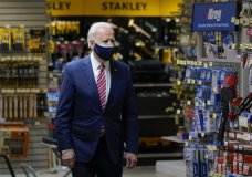 President Joe Biden visits W.S. Jenks & Son hardware store, a small business that received a Paycheck Protection Program loan, Tuesday, March 9, 2021, in Washington. (AP Photo/Patrick Semansky)