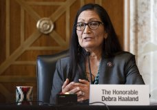 FILE - In this Feb. 23, 2021, file photo Interior Secretary nominee Rep. Deb Haaland, D-N.M., speaks during her confirmation hearing on Capitol Hill in Washington. On March 15, the Senate confirmed her as Interior Secretary. (Jim Watson/Pool via AP, File)